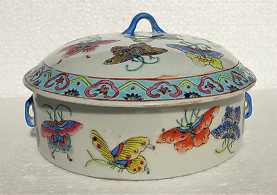 CINA (China): Fine Chinese porcelain lidded Tureen Soup with butterfly