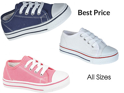 Kids Children Boys Girls Canvas Casual Shoes Trainers Lace Up Plimsolls