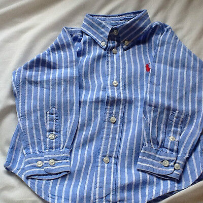 Two boys Ralph Lauren shirts 12-18 months Red & Blue Striped