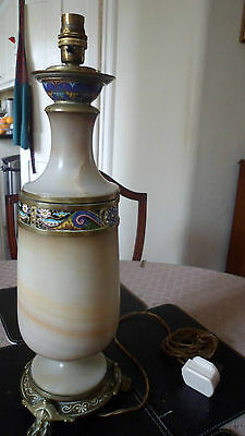 Fantastic French Onyx and Champleve Enamel Lamp - Early 1900s