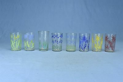 Vintage MIXED LOT of 8 SWANKY SWIG GLASSES FLOWERS BLUE RED YELLOW WHITE #3214