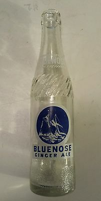 "Rare Canadian (Halifax, N.s.)""bluenose"" 10 Oz Clear Embossed Bottle-Blue & White"