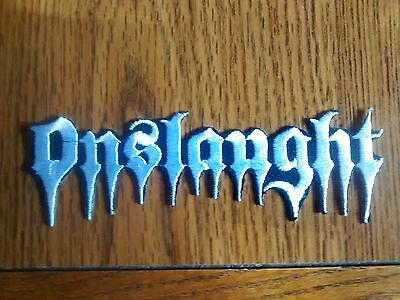Onslaugth,iron On White Embroidered Patch