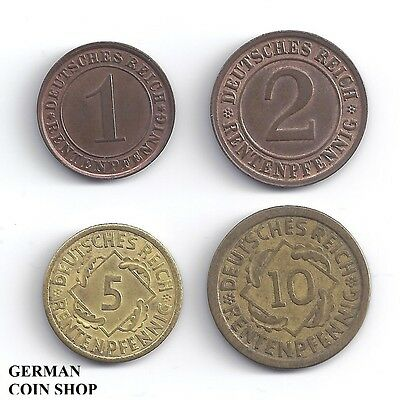 Germany Weimarer Republik - Set 1, 2, 5, 10 Rentenpfennig 1923 - 1924