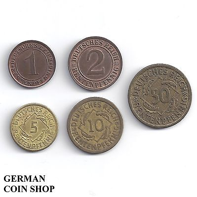 Germany Weimarer Republik - Set 1, 2, 5, 10, 50 Rentenpfennig 1923 - 1924