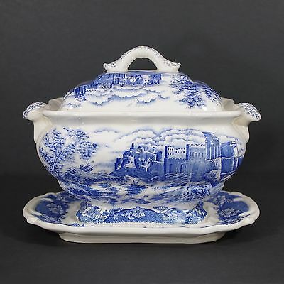 ANTIQUE SOUP TUREEN W/LID Blue and White Transferware Blue Willow Design Vintage