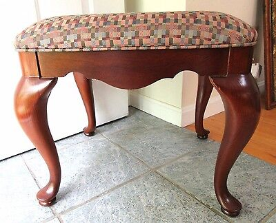 Big Vintage Thomasville Queen Anne Foot Stool Bench Vanity Cherry Upholstered