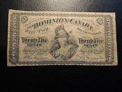 1870 DOMINION OF CANADA .25 TWENTY FIVE CENTS PAPER SHINPLASTER LARGE B DC-1b
