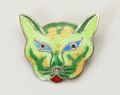 Vintage Sterling Silver Enameled Mexican Big Cat Face Pin Brooch Enamel Signed