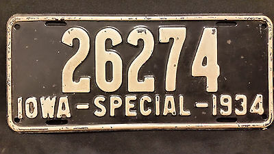 1934 Iowa Special 26274 License Plate
