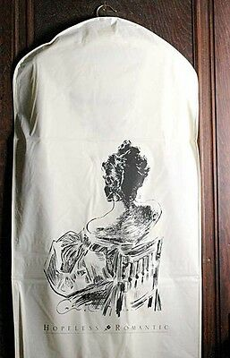 Hopeless Romantic Vinyl Dress Garment Storage Bag Woman Sitting on Chair  New