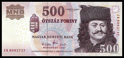 Hungary 500 Forint 2007 P-196 Unc Banknote Paper Money Currency