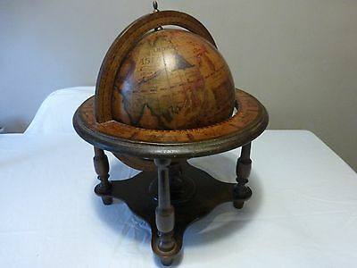 VINTAGE WOODEN GLOBE and STAND