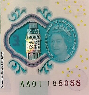 England New £5 Note AA01 188088 (nearly 888888 Extremely Rare)