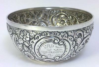 Victorian hallmarked Sterling Silver Sugar or Bon Bon Bowl– 1893  (106g)