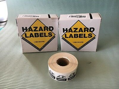 Hazard Label Lab Safety Supply  Corrosive LOT OF 16 Boxes