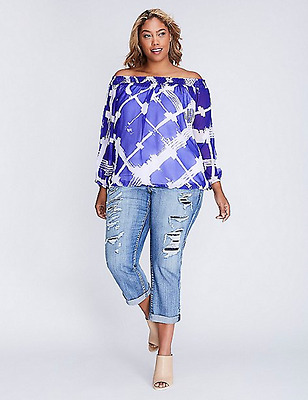 28124b32b764b LANE BRYANT Printed Off The Shoulder Top sz 22 24 Womens Plus Sheer Blouse  3x