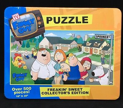 "Family Guy Freakin Sweet Collectors Edition Puzzle Tin Box 500 pcs 16""x30"""