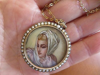 Victorian 9K Gold Seed Pearl Locket Hand Painted Necklace/Chain 10k Solid Gold