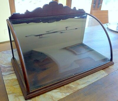 Antique curved glass display case, large ORIGINAL