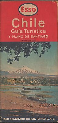 Chile Road Map Esso Santiago 1963 50 year in Chile