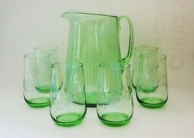 Stunning Vintage Green Glass Water Set Jug & 6 Glasses With Etched Roses