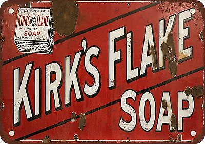 "7"" x 10"" Metal Sign - Kirk's Flake White Soap - Vintage Look Reproduction"