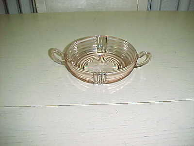 Vintage Pink Manhattan Depression Glass Double Handle Bowl 1930's ribbed