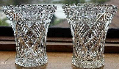 Eyecatching Pair Of Australian Depression Era Glass Vases Fan & Diamond Pattern