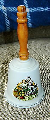 Vintage Norman Rockwell Bell The Clown & Boy Ceramic with Wooden Handle
