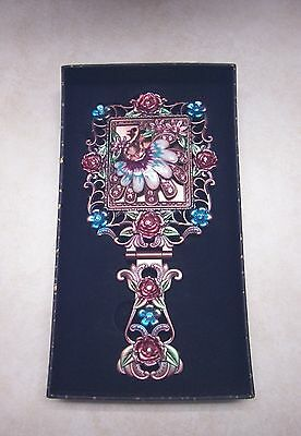 NIB-Vintage Look Floral Jeweled-Beaded Hand Held Vanity Mirror-Foldable Handle-