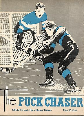 1939-40 St. Louis Flyers Hockey Program (Omaha Knights At St. Louis Flyers)