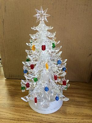 Vintage Music Box Crystal Look Acrylic Christmas Tree w/ Candy Ornaments  Frosty