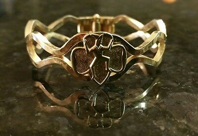 Vintage Brownie Girl Scout Bracelet Gold Tone Hinged Clasp 1965
