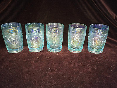 Lot of 6 Vintage Imperial Carnival Glass Light Blue Robin tumblers