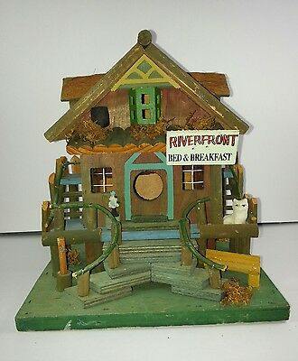 Outdoor Birdhouse RIVERFRONT BED & BREAKFAST COTTAGE YARD DECOR WOOD BIRD HOUSE