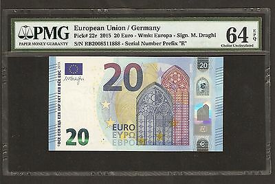 2015 European Union 20 Euro ( Germany ) 888 Ending Number ~ PMG