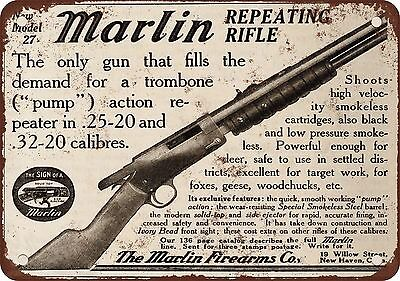 "7"" x 10"" Metal Sign - 1910 Marlin Repeating Rifle - Vintage Look Reproduction"