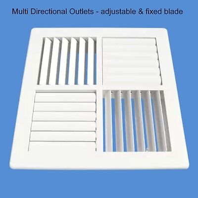 22x22cm Square PALTECH 4 WAY VENT Outlet Grille Register Ducted Heating Cooling