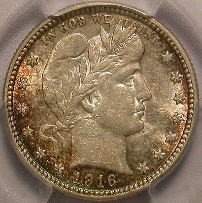 1916-D Barber Quarter PCGS AU-55 A Colorful Beauty!