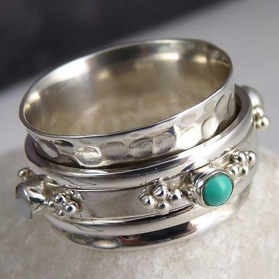 JAPA SPINNER Size US 10 SILVERSARI Fidget RING Solid 925 Silver TURQUOISE/PEARL