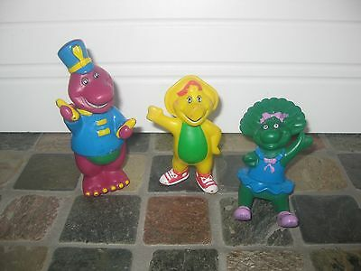 "Vintage Barney BJ Baby Bop 3"" Figure Lot 3 Lyons Group Toy Cake Topper"