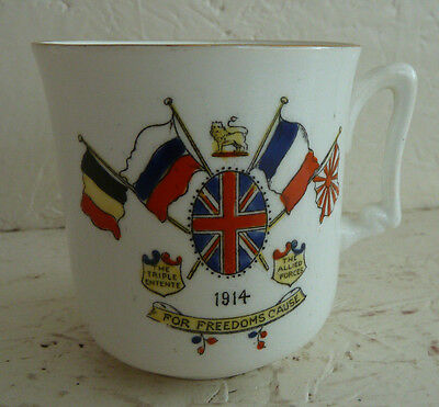 """Vintage Sutherland China Cup """"For Freedom's Cause"""" 1914 WWI Militaria World War"""