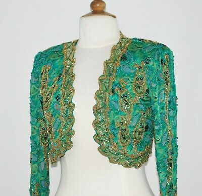 Jasdee Vintage Bolero Jacket Hand Work Beaded & Hand Print On Silk Style 2019