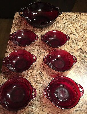 GORGEOUS RUBY Red Glass Vintage Bowls, 6 Small Size & SERVING/Salad Bowl