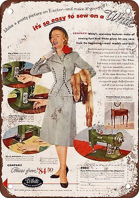 "7"" x 10"" Metal Sign - 1952 White Sewing Machines - Vintage Look Reproduction"