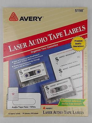 Avery 5198 White Audio Tape Labels - 50 sheets @ 12/Sheet - 600 Labels NEW