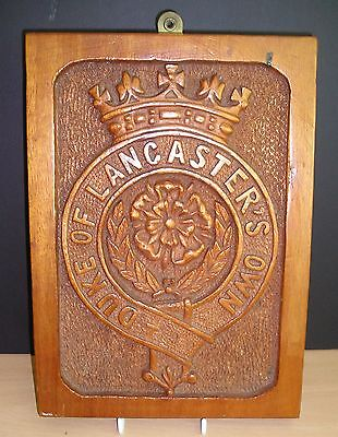 WW-I Hand Carved Plaque Bearing the Duke of Lancaster's Own Yeomanry Regt .Badge