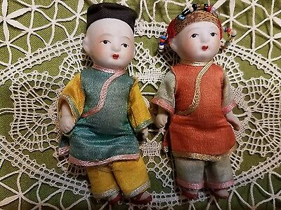Vintage All  Bisque Small Japan Japanese Asian Oriental China Boy & Girl  Dolls