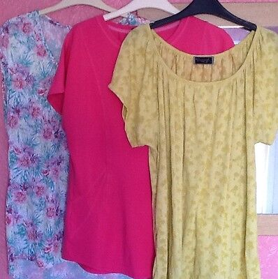 Three Ladies Blouses Tops Size 16 / 18 Pink Green & Multi